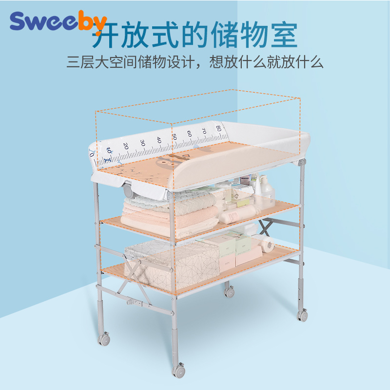 Diaper Table Newborn Care Table Bath Multifunctional Table Height Adjustable Baby Changing Table