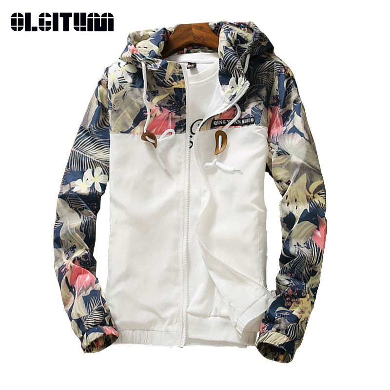 2019 Women Hooded   Jackets   Spring Causal Windbreaker Women   Basic     Jackets   Print Zipper Lightweight   Jackets   Bomber Female Outwear