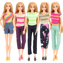 Baby Newest 5 Doll Clothes Random Pick +10 Shoes Fashion Daily Wear Party Gown Pants For Barbie Doll Accessories Girl Best Gift