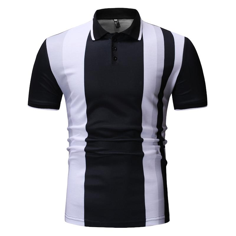 POLO   Shirts Mens Casual Fashion Men   Polo   Shirt Men's Clothing Casual Tops Tees Stripe Navy black
