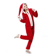 Women Plus Size Coral Fleece Pyjamas Hooded Christmas Costume Onesie Winter Warm Christmas Party Clothes Pajamas For Adult Women