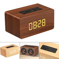 W5C 52MM Double Horn Wooden Wireless Bluetooth Alarm Clock Speaker with Time Display and AUX Wired Connection for Smart phone PC