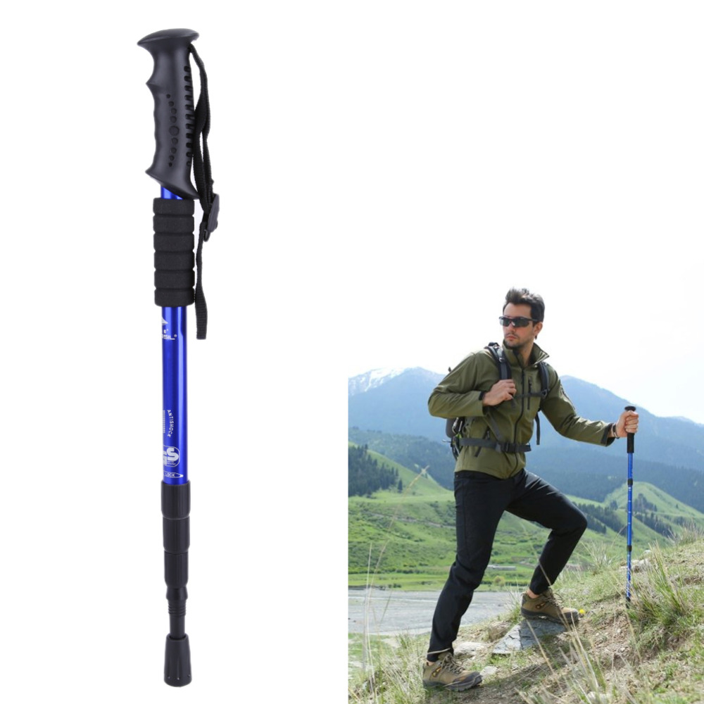 4 Section Walking Hiking Stick Telescopic Trekking Hiking Poles Ultralight Telescopic Pole Cane Alpenstocks Walking Wticks 4 section telescopic mountaineering pole stick with 9 led lights compass 4 x ag13 110cm length