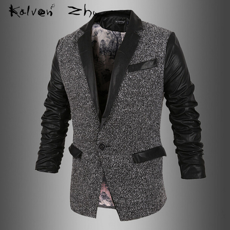 Black Spring Autumn New 2015 Korean Male Slim Motorcycle Leather Blazer Fashion PU Jacket Mens Suit M-XXL MJ062 - Karen Mok store