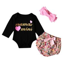 3pcs Toddler Baby Girls Clothes Set  Letter Pringting Tops+Floral Pants Outfits