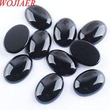 WOJIAER الطبيعية الأسود Agates كابوشون الخرز البيضاوي الكابينة 18x25x7 مللي متر شبه الكريمة الأحجار صالح اليدوية مجوهرات النساء الرجال 10 قطعة PU8064