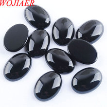 WOJIAER Natural Black Agates Cabochon Beads Oval CAB 18x25x7mm Semi precious Stones Fit Handmade Jewelry Women Men 10PCS PU8064