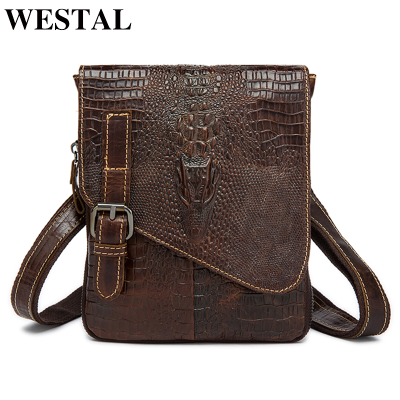 WESTAL genuine leather Travel Waist Pack Fanny Pack men Leather Belt Waist bags phone pouch small chest messenger for man 8000