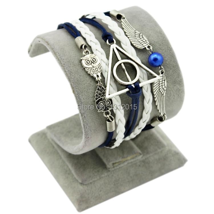 Free Shipping New Wholesale Blue Wing Illuminati Infinitely Fashion Women Leather Bracelets Zc004 Helpful Min.order Is $8 mix Order