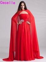 Roja Larga de La Gasa A-line Vestidos de Noche 2017 Con Moldeado Sin Tirantes Plisados Del Cabo Mujeres Elegantes vestidos de Noche Formales Por Encargo