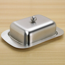 Stainless Steel Butter Dish Box Container Cheese Server Storage Keeper Tray with Gold Lid Fruit Salad Case
