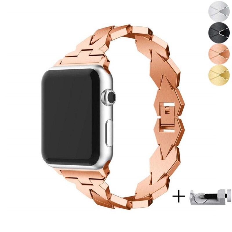 Link Bracelet Strap For Apple Watch Band 4 42mm 38mm Iwatch Series 4/3/2/1 Correa Metal Stainless Steel Watchband Wrist Belt
