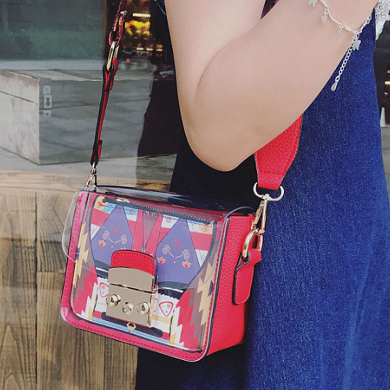 Yesello Fashion Women Graffiti Messenger Bag Quality Leather Womens Flap Bag Wide Strap Female Shoulder Bag Lay Crossbody Bags