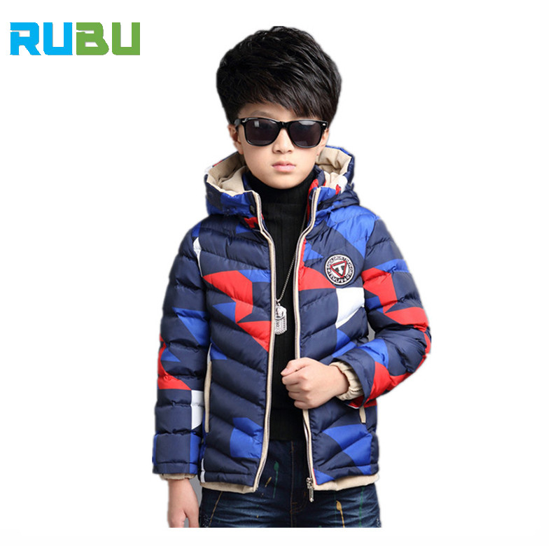Children Winter Down Jackets For boys& Girls Camouflage Outerwear & Coats Kids Clothing Down Coat Hooded Warm Clothes JSB1009