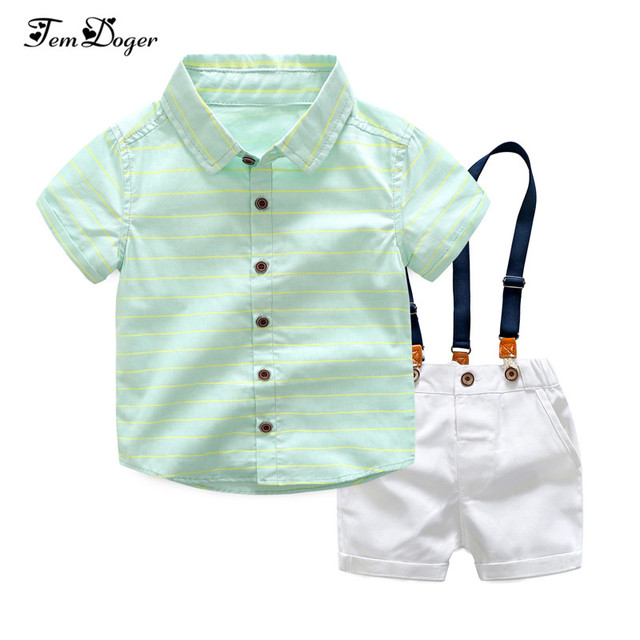 Tem Doger Boy Clothing Sets 2018 Summer Toddler Kids Boys Clothes Suit Green Shirt+Overalls 2PCS Outfits Sets Child Boy Clothing