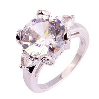 Love Heart Style Jewelry Shinning White Topaz 925 Silver Ring Size 6 7 8 9 10 11 Gift For Lady Engagement Free Ship Wholesale