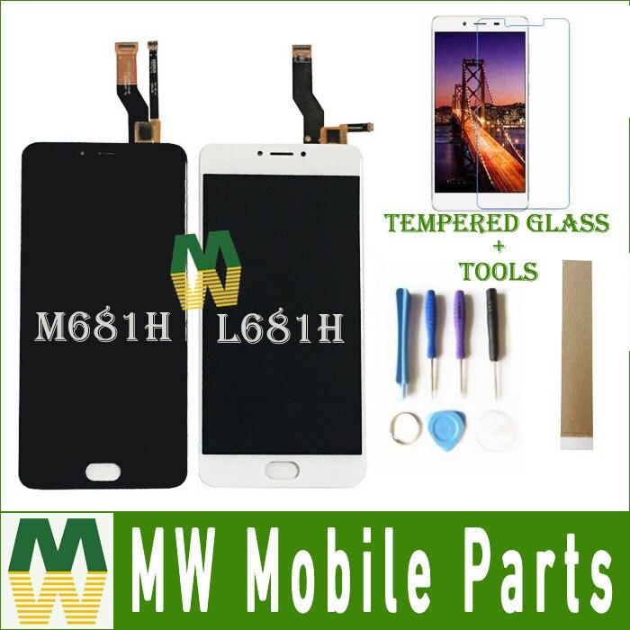 Para Meizu M3 nota L681H M681H M681Q pantalla LCD Sensor de pantalla táctil digitalizador de vidrio Asamblea negro Color blanco con Kit