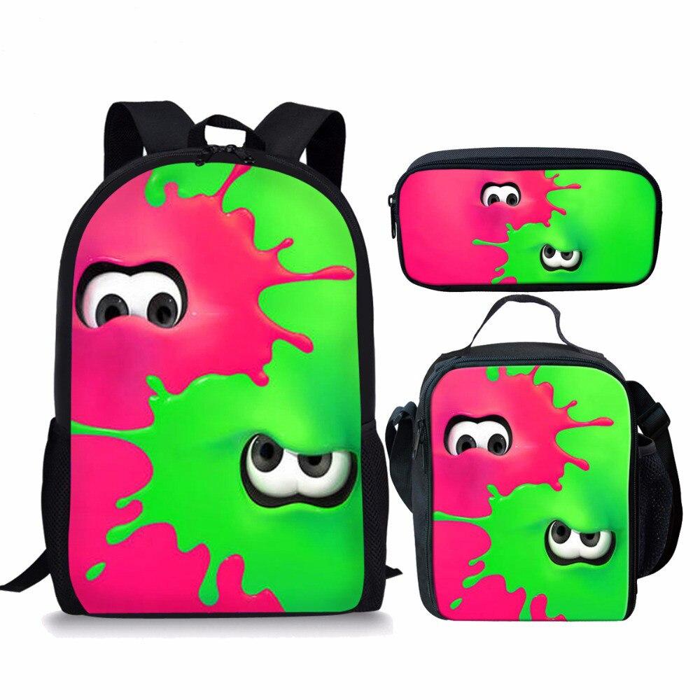 ThiKin 3 pièces/ensemble sacs d'école Splatoon 2 sacs à dos pour garçon filles jeu décontracté imprimé sacs à dos ensembles sac Splatoon cadeau d'école