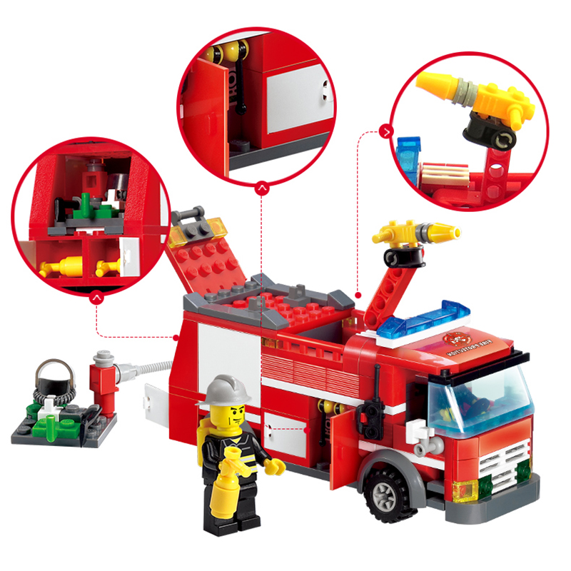 KAZI-8054-Construction-Building-Blocks-Compatible-Legoe-City-DIY-Fire-Truck-Firefighter-Bricks-Educational-Toys-For