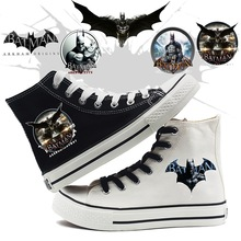 Printing Cool Cartoon Batman The Dark Knight Pattern High Top Breathable Canvas Uppers Sneakers College Fashion Shoe Men