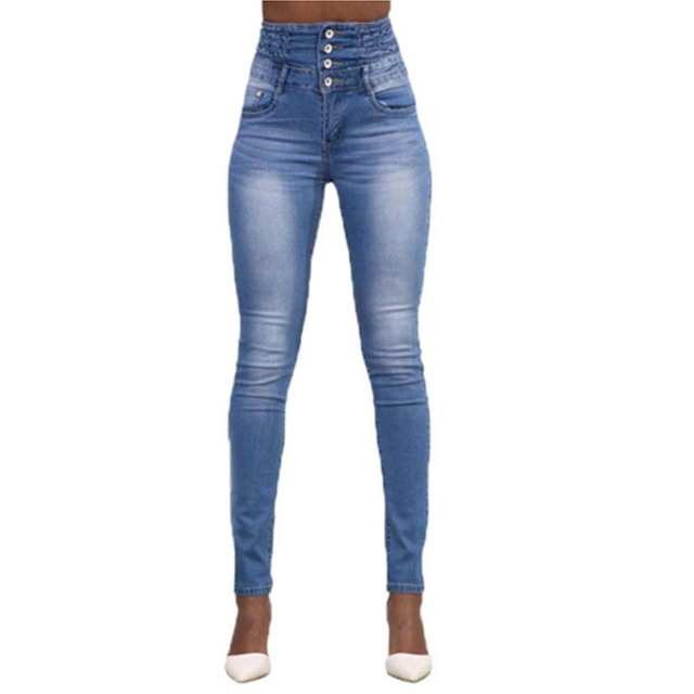 eccb644c6a US $25.38 |Extra high waist stylish stretch denim skinny jeans elastic  waist buttons detail vintage washed plus size sculpt jeans butt lift-in  Jeans ...