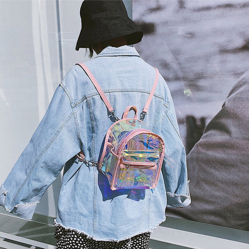 Fashion Girls Women Mini Backpack Clear Street Transparent Jelly Versatile Shoulder Bag Wild Student Bagpack  Small Square Bags