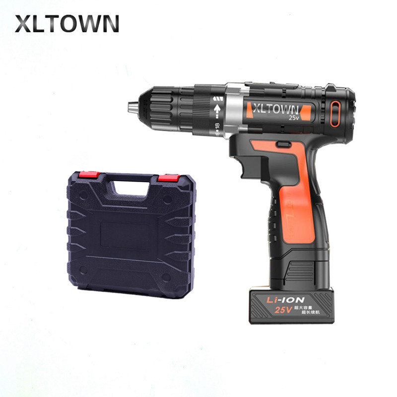 Xltown 25v two-speed lithium battery electric drill with a plastic box Cordless electric screwdrivers power tools free shipping