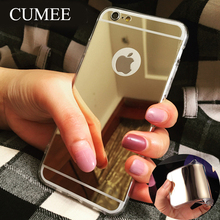 Luxury Electroplating Mirror Case For iPhone6 6S 5 S SE Clear Soft TPU Frame+Acrylic Back Cover For Fundas iPhone 6 6S Plus Case