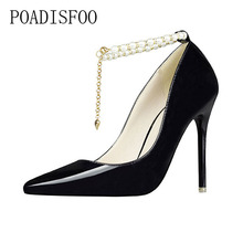 high-heeled Shallow Mouth Pointed Pearl Diamond Single Word Shoes  Fashion Elegant women's Shoes Fine With .ZWM-740-2