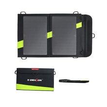 X-dragon alta calidad 14 W 5 V Panel Solar Sunpower cargador doble salida 5 V banco de la energía Solar que acampa cargador para el teléfono celular