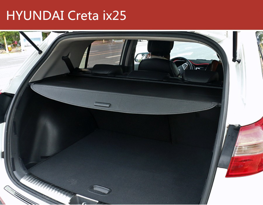 цена на Car Rear Trunk Security Shield Cargo Cover For HYUNDAI ix25 Creta 2014 15 16 2017 2018 High Qualit Black Beige Auto Accessories