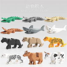 Lolede Animal Gatherings Action Figure Collectible Model Doll Big Particle Kids Baby Bath Toys Compatible with Duplo Gift(China)
