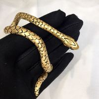 Vintage Gold Color Gem Stone Snake Open Cuff Bracelets Bangles Armlet Men Women Unique Gypsy Turkish India Party Jewelry