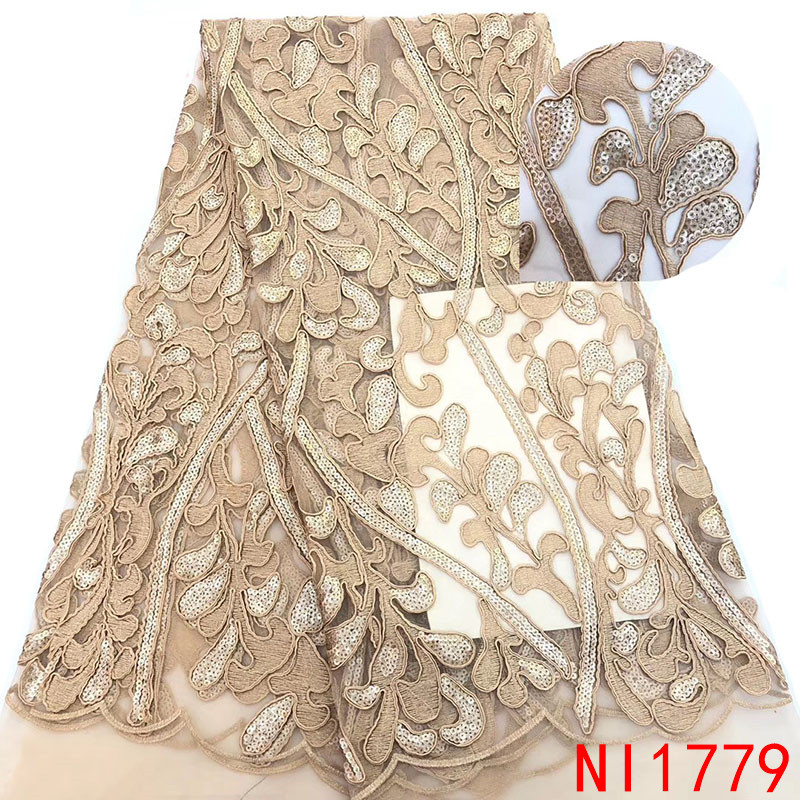 High Quality African Lace Fabric Hot Sale French Nigerian Embroidered Tulle Laces With Sequins For Party Dresses KSNI1779