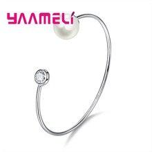 020228a53f3f YAAMELI precioso brazalete de moda pulsera de perlas de agua dulce  decoración de cristal claro de 925 joyas de plata esterlina p.