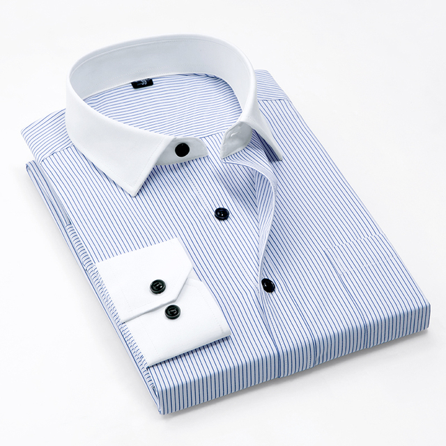 fb12e259629 Mens Contrast Collar and Cuff Shirts Long Sleeve Striped Business Formal Shirts  Men Dress Shirt Slim Fit White Collar