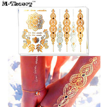 M-Theory Gold Metallic Choker Temporary 3d Tattoos Henna Tatuagem Body Art Tatto Flash Tatoos Sticker Henna Bikini Makeup Tools