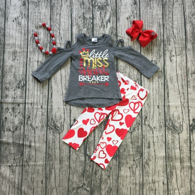 Baby Girls Valentines Day Clothes Children Little Miss Heart Breaker Print Grey Top With Heart Pants