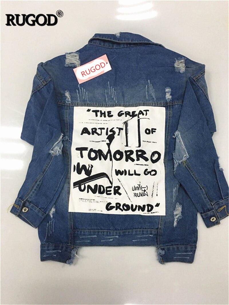 HTB1KYn9VYvpK1RjSZPiq6zmwXXaB RUGOD Basic Coat Bombers Vintage Fabric Patchwork Denim Jacket Women Cowboy Jeans 2019 Autumn Frayed Ripped Hole Jean Jacket