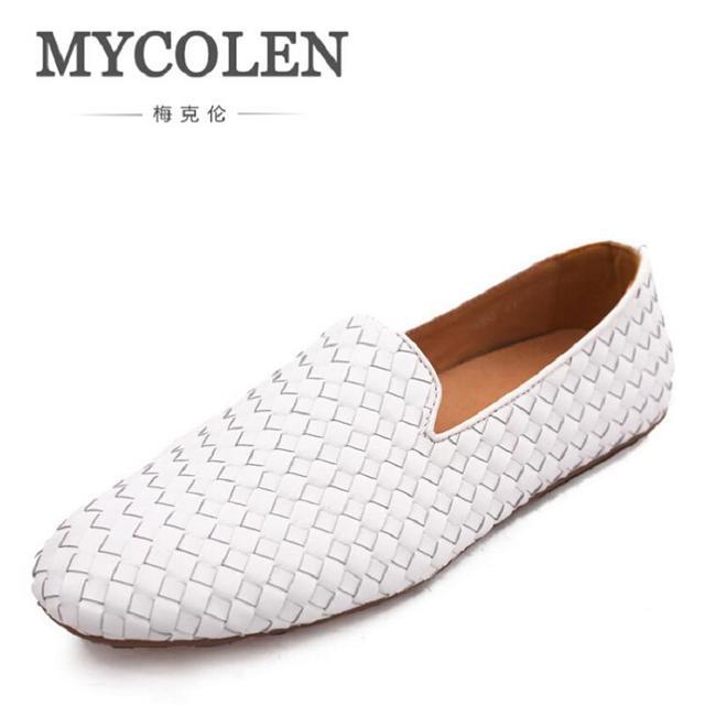 Moda mocasines suaves hombres calidad superior blanco, zapatos de cuero hombres conducción.