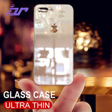 BR Luxury Glass Case For iPhone 8 7 Plus Cases Ultra Thin Transparent Back Glass Cover Case For iPhone 7 Plus 8 Soft TPU Edge(China)