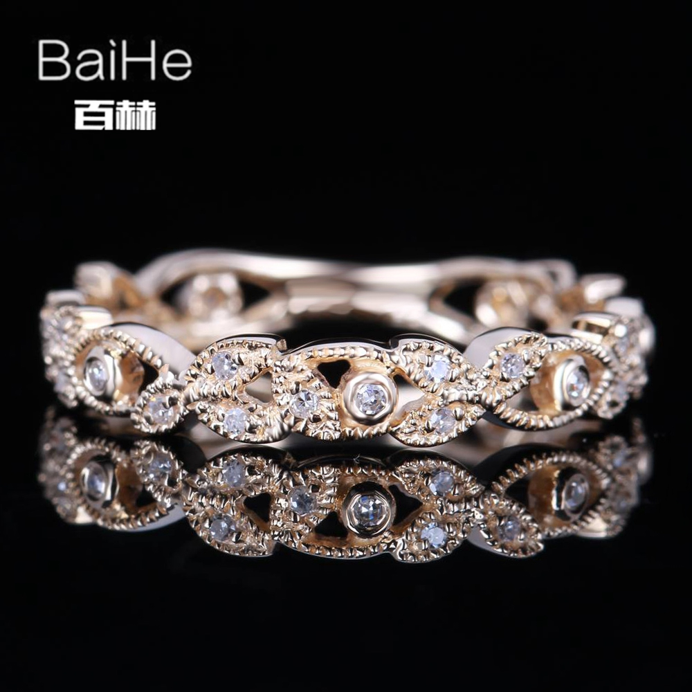 BAIHE Solid 14K Yellow Gold(AU585) 0.15CT Certified H/SI Round Genuine Natural Diamond Wedding Women Trendy Fine Jewelry Ring BAIHE Solid 14K Yellow Gold(AU585) 0.15CT Certified H/SI Round Genuine Natural Diamond Wedding Women Trendy Fine Jewelry Ring