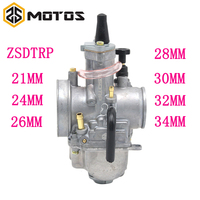 ZS MOTOS High Quality Motorcycle parts Scooter Carburetor 21 24 26 28 30 32 34mm Carburetor With Power Jet & Rubber Connect