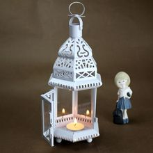 PINNY European Classical Iron Candles Stand Multicolored Glass Moroccan Style Candle Holder Lantern Vintage Decorative Cages european style retro candle lights wood glass iron