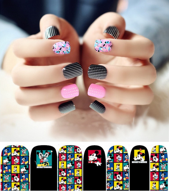 2 sheet mickey minnie print nail art stickers fake nails acrylic 2 sheet mickey minnie print nail art stickers fake nails acrylic false ongle full nails prinsesfo Image collections