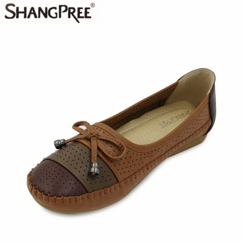 Butterfly-Knot Decoration 2017 Summer Cut Out Women Leather Shoes Woman Flat Flexible Round Toe Nurse Casual Fashion Loafer