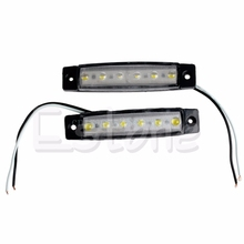 2X 6-LED Bus Van Boat Truck Trailer Side Marker Tail Light Lamp 12V White#T518#