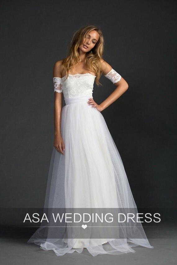 Aliexpress.com : Buy White Simple Short Sleeves Beach Wedding ...