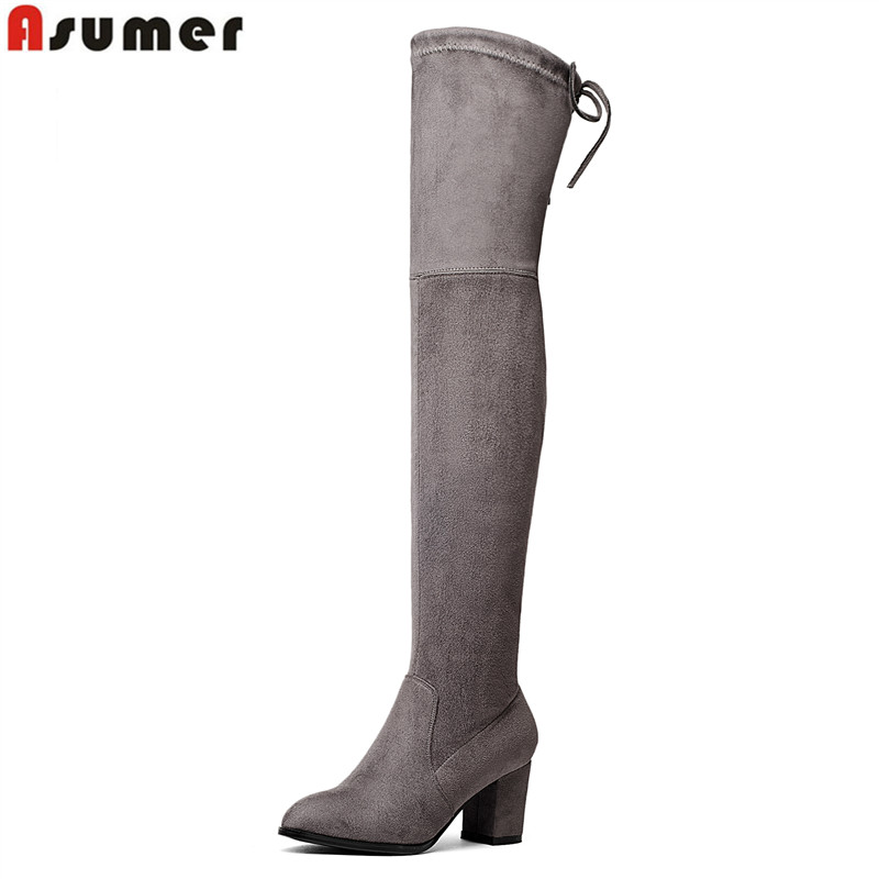 Asumer Faux Suede Slim Boots women Sexy over the knee high heels snow boots women's fashion winter thigh high boots shoes woman 2018 winter thigh high boots women faux suede leather high heels over the knee botas mujer plus size shoes woman 34 43