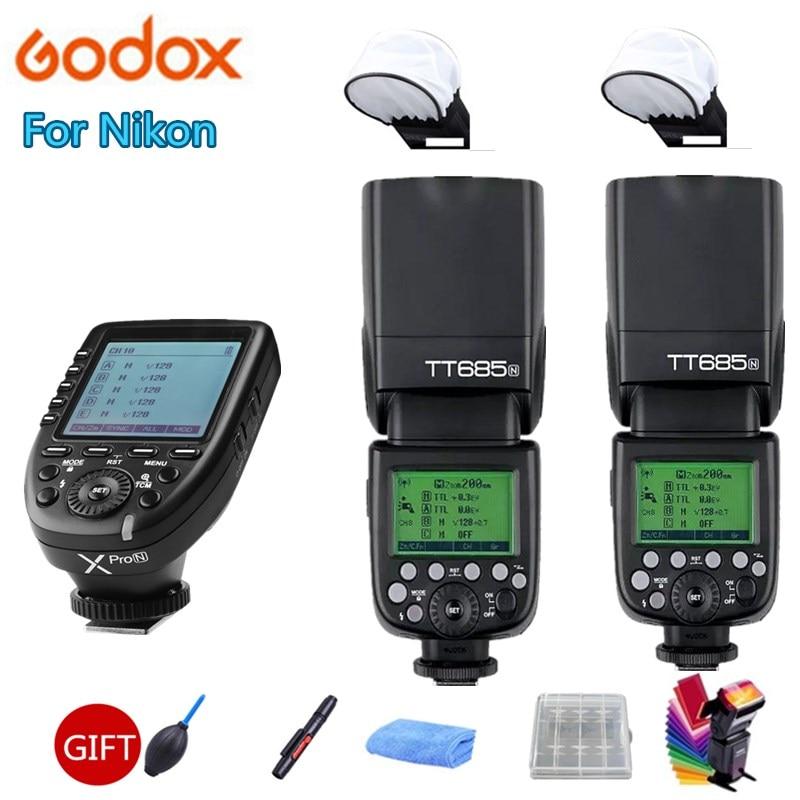 Godox TT685N TTL Camera Flash 2.4GHz High Speed 1/8000s GN60+Xpro N TTL Wireless Transmitter for Nikon D7500 D850 D500 D4 +Gift Flashes     - title=